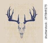 deer skull  hand drawn...