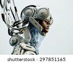 wired black man in robotic... | Shutterstock . vector #297851165