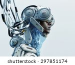 wired black man in robotic... | Shutterstock . vector #297851174