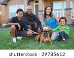 family with dog in grass by home | Shutterstock . vector #29785612