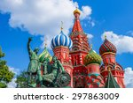 saint basil's cathedral on red... | Shutterstock . vector #297863009