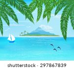 sea  sailboard  island with... | Shutterstock .eps vector #297867839