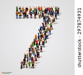 large group of people in number ... | Shutterstock .eps vector #297874931