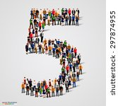 large group of people in number ... | Shutterstock .eps vector #297874955