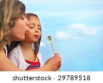 sisters blowing dandelion on a... | Shutterstock . vector #29789518