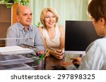 Small photo of Positive senior female opening saving account in bank