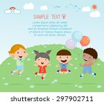 kids jumping on the playground... | Shutterstock .eps vector #297902711