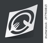 white sticker with black fork...