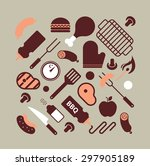 composition with bbq and grill... | Shutterstock .eps vector #297905189