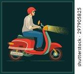 scooter motorbike retro retro...   Shutterstock .eps vector #297905825