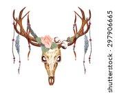 watercolor deer skull  coral...