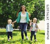 portrait of happy family having ... | Shutterstock . vector #297911075