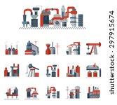 set of red and gray flat vector ...   Shutterstock .eps vector #297915674