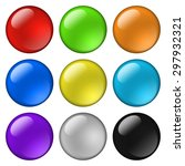 glossy round buttons for icons. ... | Shutterstock . vector #297932321