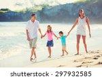 young happy family having fun... | Shutterstock . vector #297932585
