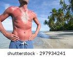 sunburned athlete standing with ...   Shutterstock . vector #297934241