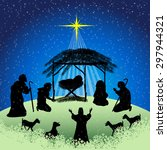 silhouettes christmas nativity... | Shutterstock .eps vector #297944321