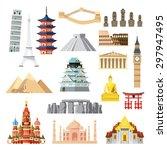 landmarks set in flat design... | Shutterstock .eps vector #297947495