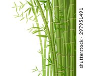 green bamboo stems with leaves... | Shutterstock .eps vector #297951491
