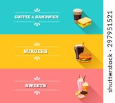 set of 3 horizontal fastfood... | Shutterstock .eps vector #297951521