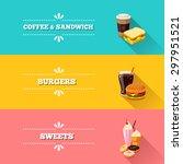 set of 3 horizontal fastfood... | Shutterstock .eps vector #297951521