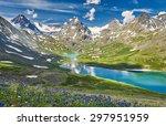 Mountain Lake  Russia  Siberia...