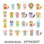 cute animal vector collection | Shutterstock .eps vector #297962057