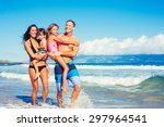 portrait of young happy family... | Shutterstock . vector #297964541
