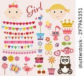 scrapbook girl set | Shutterstock .eps vector #297965351
