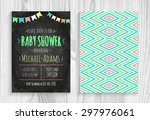 vector invitation to the baby... | Shutterstock .eps vector #297976061