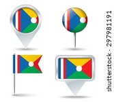 map pins with flag of reunion   ... | Shutterstock .eps vector #297981191