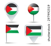 map pins with flag of west bank ... | Shutterstock .eps vector #297992519