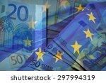 Waving Eu Flag On A Euro Money...