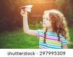 cute girl throwing paper... | Shutterstock . vector #297995309