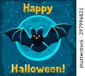 happy halloween greeting card... | Shutterstock .eps vector #297996821