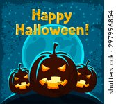 happy halloween greeting card... | Shutterstock .eps vector #297996854