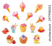 set of isolated watercolor... | Shutterstock .eps vector #297998201