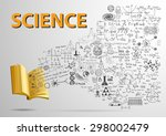 3d open book with science... | Shutterstock .eps vector #298002479