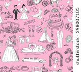 seamless pattern with wedding... | Shutterstock . vector #298007105