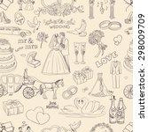 seamless pattern with wedding... | Shutterstock . vector #298009709