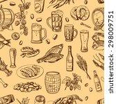 beer seamless pattern on beige... | Shutterstock . vector #298009751