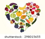 colorful heart of fruits and... | Shutterstock .eps vector #298015655