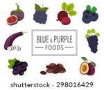 blue and purple fruits and... | Shutterstock .eps vector #298016429