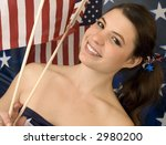Beautiful brunette ready for the fourth! - stock photo