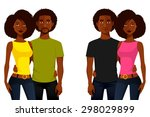 young african american people... | Shutterstock .eps vector #298029899