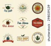 vector set of tea shop labels ... | Shutterstock .eps vector #298039139