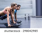 side view of a muscular couple... | Shutterstock . vector #298042985