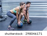 squatting muscular couple doing ... | Shutterstock . vector #298046171