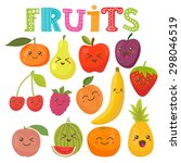 cute kawaii smiling fruits.... | Shutterstock .eps vector #298046519