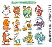 cartoon colorful set of twelve... | Shutterstock .eps vector #298047575